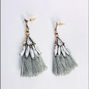 New! Vintage Boho Crystals Tassels Earrings Gray